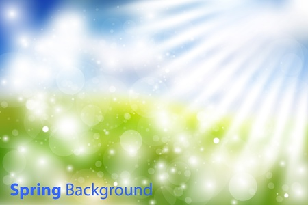 Gorgeous vector spring background with sky, grass, sun rays and multiple bokehs. Fully editable eps10