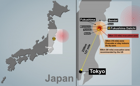 Vector detailed map of Japan with seismic epicenter, radioactive contamination, evacuation zones and cities
