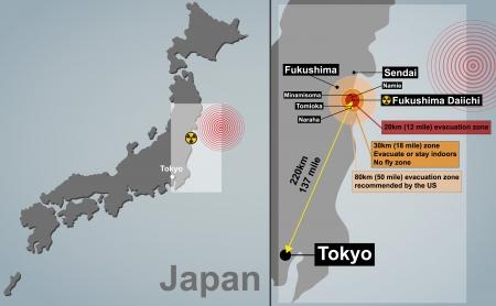 evacuatie: Vector gedetailleerde kaart van Japan met seismische epicentrum, radioactieve besmetting, evacuatie zones en steden