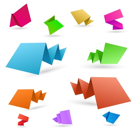 Different vector colorful origami speech bubbles. Fully editable eps10 Vector