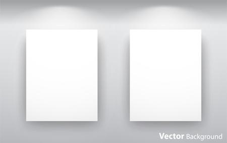 Lege galerij wand met verlichting voor beelden en reclame. Volledig bewerkbare eps10 Vector Illustratie