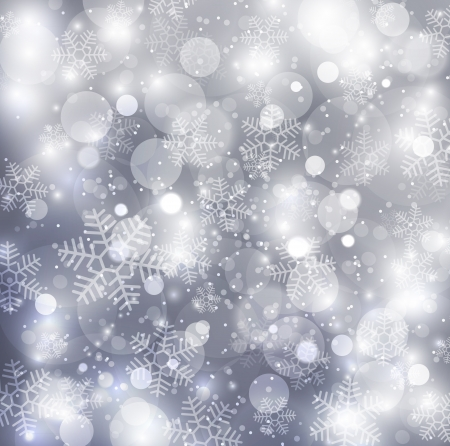 silver christmas: Elegant christmas silver background with snowflakes Stock Photo