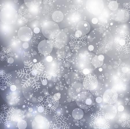 glint: Elegante fondo de Navidad con copos de nieve de plata Foto de archivo