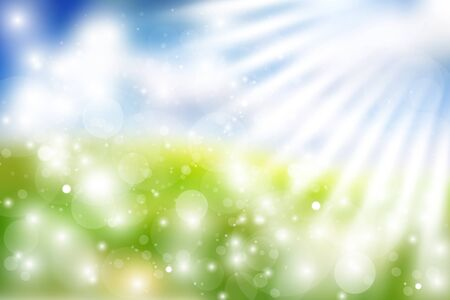sun lit: Gorgeous spring background with sky, grass, sun rays and multiple bokehs