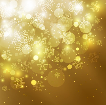 Elegant christmas golden background with snowflakes