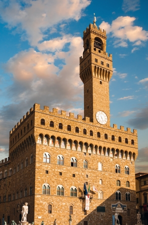 signoria square: Palazzo Vecchio and Signoria square with sunset clouds, Florence, Tuscany, Italy Editorial