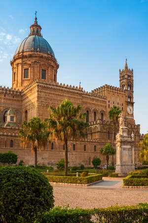 palermo italy: Cathedral of Palermo during sunset, Sicily island, Italy