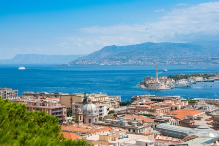 Strait between Sicily and Italy, view from Messina, Sicily 스톡 콘텐츠