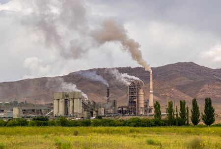 hazardous waste: Hazardous and toxic smog created by power plant emissions with trees in foreground
