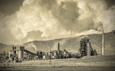 Hazardous and toxic smog created by power plant emissions Stock Photo