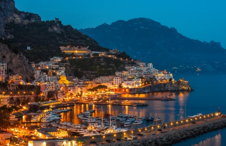 coasts: Aerial view of the Amalfi Coast with Amalfi city at night, Italy