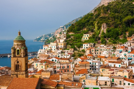 Aerial view of tthe Amalfi city with bell tower in front, Italy 版權商用圖片