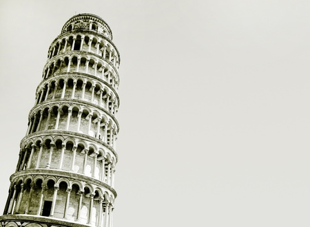Abstract photo of the leaning tower of Pisa with copy space, Italy 스톡 콘텐츠