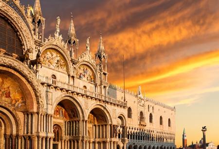 Basilica di San Marco with dramatic sunset, Venice, Italy Archivio Fotografico