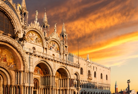 piazza san marco: Basilica di San Marco with dramatic sunset, Venice, Italy Stock Photo