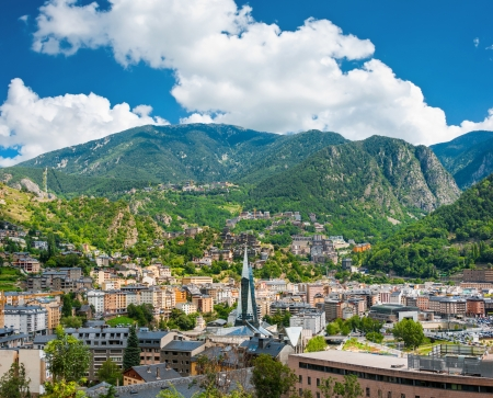 tourism in andorra: Andorra la Vella under puffy clouds, Andorra