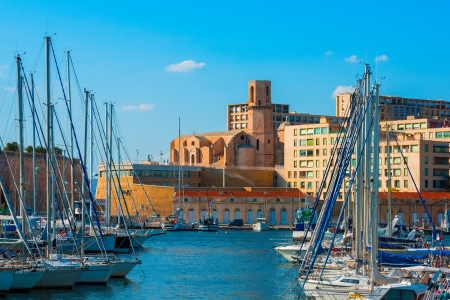 laurent: The old Vieux port of Marseille with Saint Laurent at back
