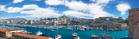 garde: Panoramic view of the Vieux port of Marseille and Notre Dame de la Garde at back, France