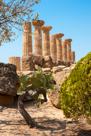 sicily: Ruins of Ercole temple in the Valley of the Temples, Agrigento, Sicily island, Italy Stock Photo