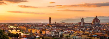 Florence city during golden sunset  Panoramic view to the river Arno, with Ponte Vecchio, Palazzo Vecchio and Cathedral of Santa Maria del Fiore  Duomo , Florence, Italy