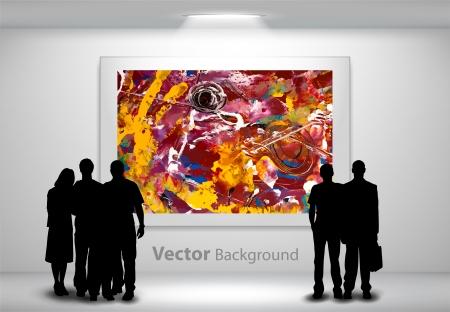 De silhouetten van mensen te kijken naar het abstracte schilderij opknoping op galerij muur. Volledig bewerkbare eps10 Vector Illustratie