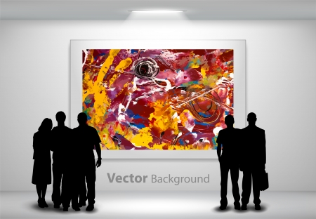 portfolio: People silhouettes looking at the abstract painting hanging on gallery wall. Fully editable eps10 Illustration