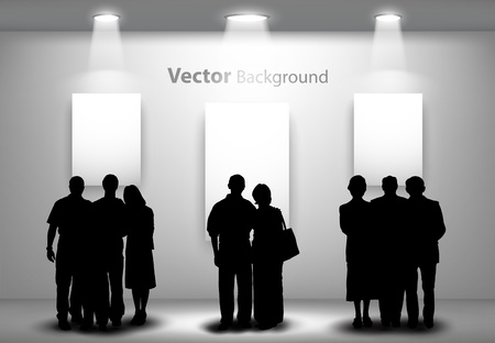 exhibition stand: People silhouettes looking on the empty gallery wall with lights for images and advertisement. Ideal concept for promoting product or service.  Fully editable eps10 Illustration
