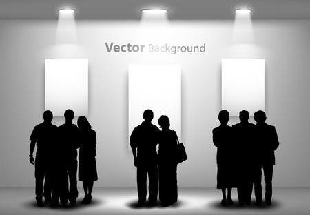 Sagome di persone a guardare il muro della galleria vuota con luci per immagini e pubblicità. Concetto ideale per promuovere prodotti o servizi. Eps10 completamente modificabili Archivio Fotografico - 23893309