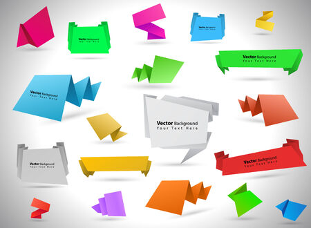 Different vector colorful origami speech bubbles