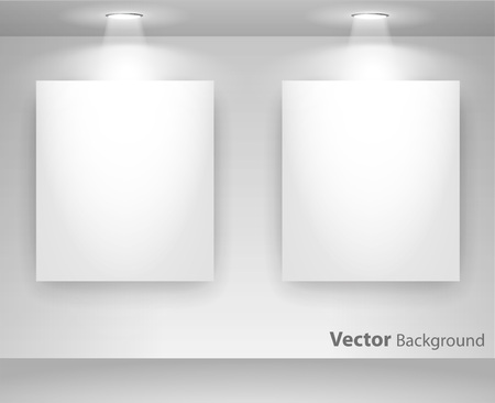 Empty gallery wall with lights for images and advertisement. Fully editable eps10 Stock Vector - 23893314