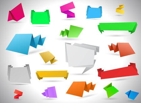 Different colorful origami speech bubbles Archivio Fotografico