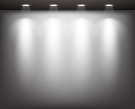 Empty gallery wall with lights for images and advertisement