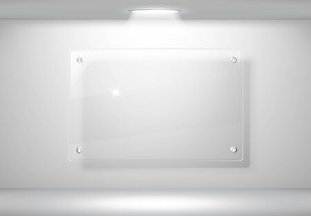 Elegant realistic glass frame on a wall with lights for images and advertisement  Archivio Fotografico