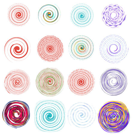 Set of 16 abstract colorful swirls