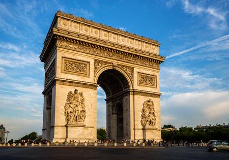 champs elysees quarter: Arch of Triumph (Arc de Triomphe) with dramatic sky, Paris, France