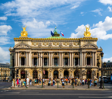 House of Opera in Paris under beautiful clouds, France