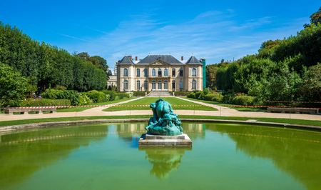Famous Rodin museum and gardens with pond in front, Paris,France
