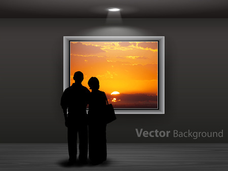 Couple's silhouettes looking on the sunset photo hanging on the gallery wall. Fully editable eps10 Vettoriali