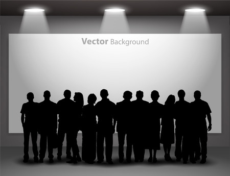 People silhouettes looking on the empty gallery wall with lights for images and advertisement. Ideal concept for promoting product or service.  Fully editable eps10 Illustration
