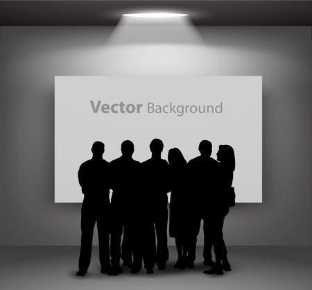 exhibition hall: People silhouettes looking on the empty gallery wall with lights for images and advertisement. Ideal concept for promoting product or service.  Fully editable eps10 Illustration