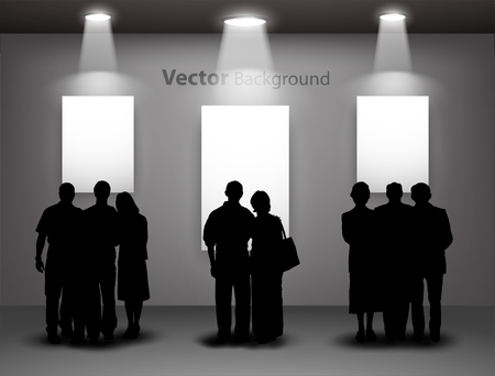 looking for: People silhouettes looking on the empty gallery wall with lights for images and advertisement. Ideal concept for promoting product or service.  Fully editable eps10 Illustration
