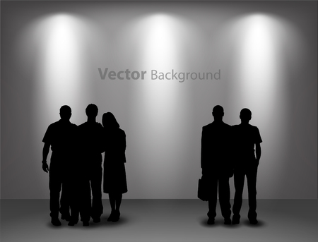 People silhouettes looking on the empty gallery wall with lights for images and advertisement. Ideal concept for promoting product or service.  Fully editable eps10 Vettoriali