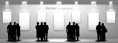 exposition: People silhouettes looking on the empty gallery wall with lights for images and advertisement. Ideal concept for promoting product or service.  Fully editable eps10 Illustration