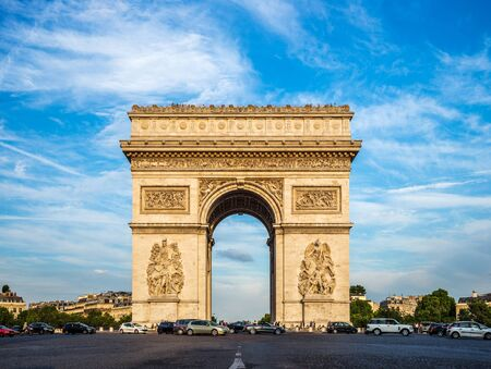 Arch of Triumph (Arc de Triomphe) with dramatic sky, Paris, France