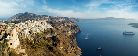 Wide panorama of the Santorini island with beautiful clouds,Thira, Santorini island, Greece Banque d'images