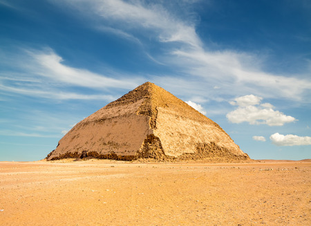egyptian pyramids: Famous Bent Pyramid under puffy clouds, Dahshur, Egypt