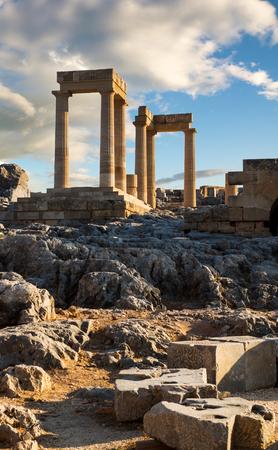 Ruins of ancient temple in Lindos acropolis, Lindos, Rhodes island, Greece