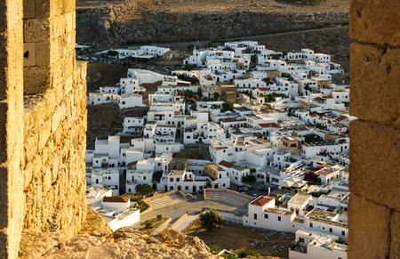 Lindos town as seen from acropolis, Lindos, Rhodes, Greece