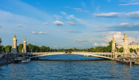 champs elysees quarter: Alexandre III bridge (Pont Alexandre III) during dramatic sunset, Paris, France