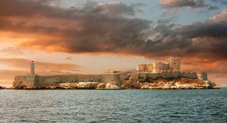 monte cristo: Sunset over famous If castle, chateau dIf, Marseille, France Editorial